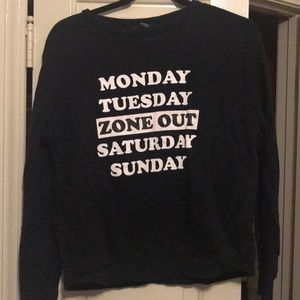 Forever 21 Days of the Week Sweatshirt. Size S.